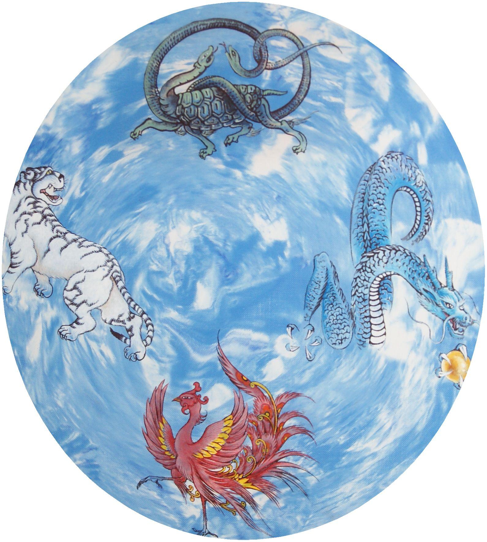 天王四神相応図イメージ.jpg この四神は、中国神話では、四方向を守護する神として、東を青龍が、