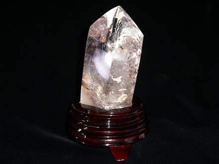 六角柱天然水晶 希少一点品 古来水入り・ファントム・レインボー入り 富貴安楽
