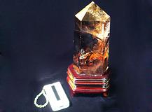 六角柱天然スモーキークォーツ 一点品 レインボー入り 永寿嘉福