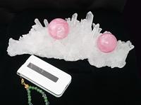 最高級天然水晶クラスター ローズクォーツ丸珠付き