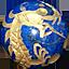 ラピスラズリ 金彫り五爪龍珠持ち