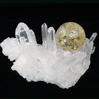 最高級天然水晶クラスター シトリン丸珠付き