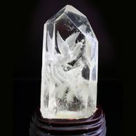 天然水晶六角柱鳳凰手彫り「富貴繁栄 鳳凰と富士山」